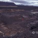 Lavafält, Island, från ett vulkanutbrott 1984.